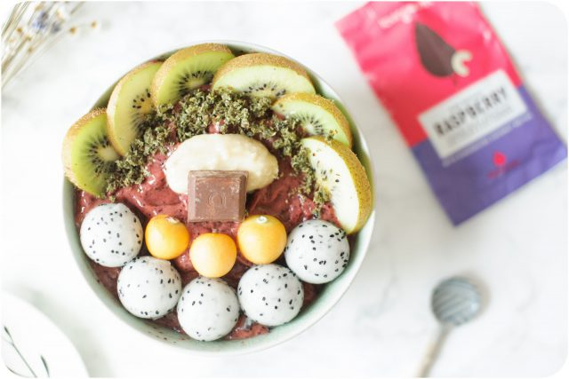 acai bowl with macadamia butter and chocolate