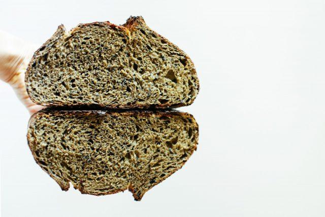 Crumb shot of the matcha sourdough