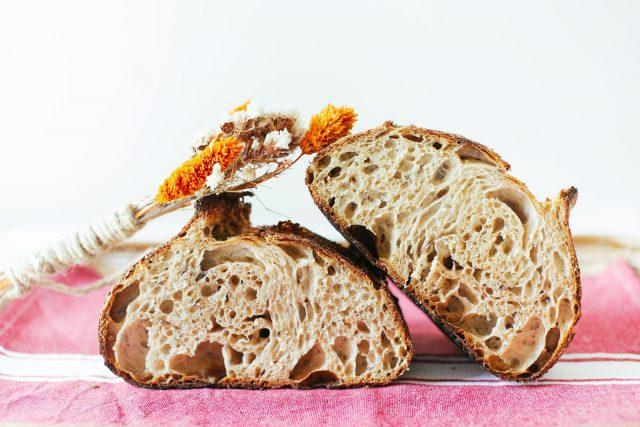 Crumb shot of Spelt & Kamut Sourdough