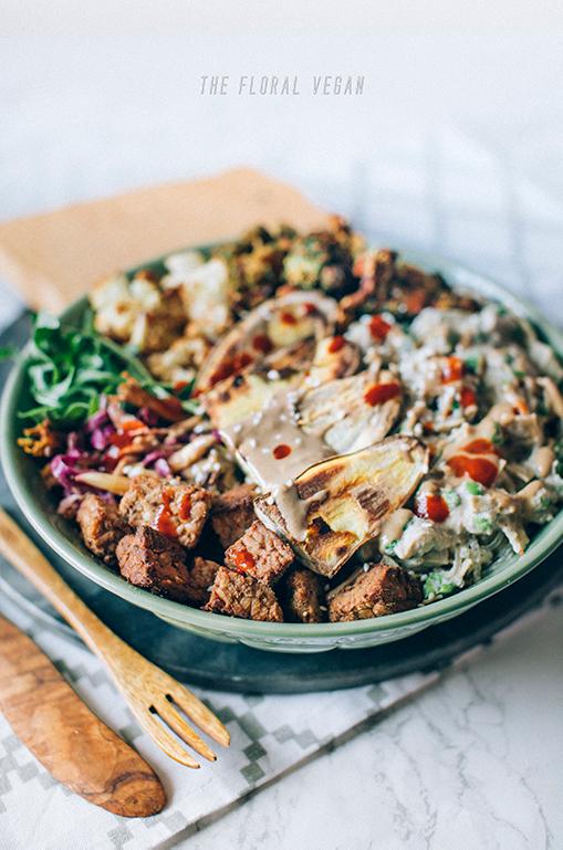 Tahini miso tempeh nourish bowl
