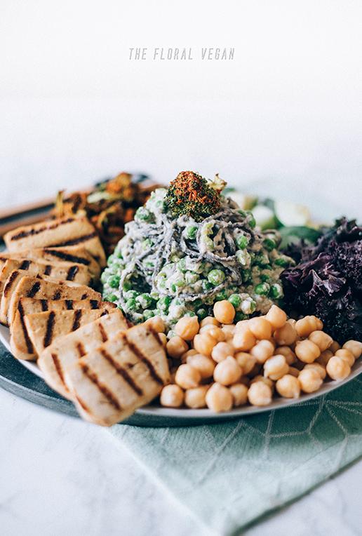 Nourish bowl with vegan alfredo pasta