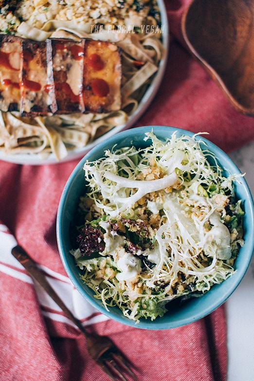 Vegan Caesar Salad with chickpea tuna salad