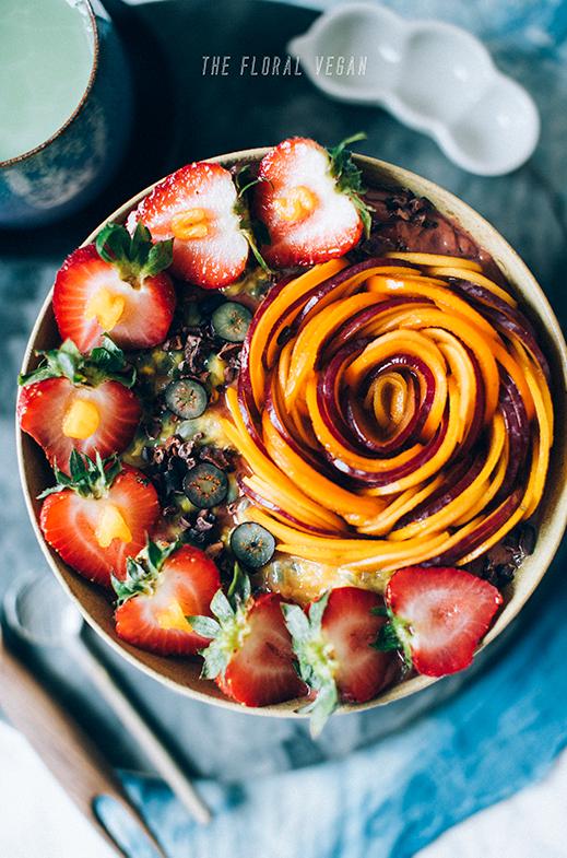 acai bowl with fruit rose