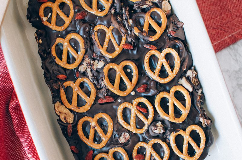 Caramel Pretzel Chocolate Bark