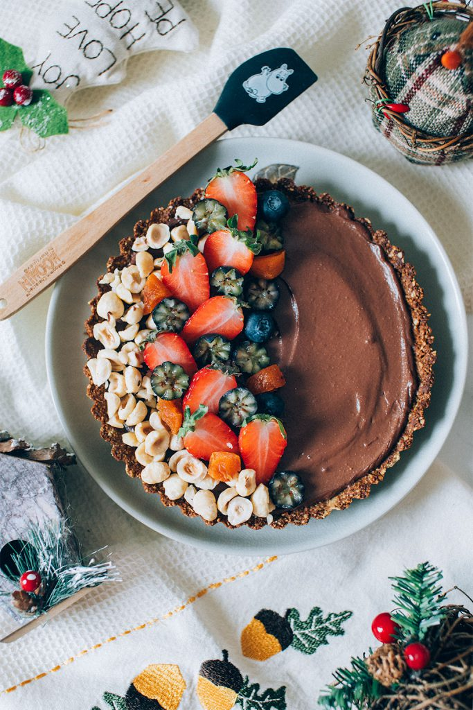 blueberry chocolate hazelnut tart