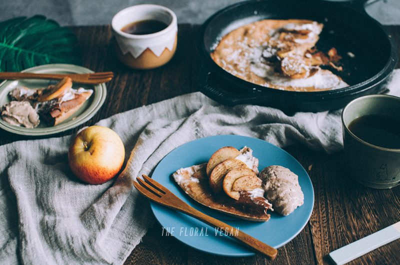 Vegan Apple Cinnamon Dutch Baby Pancake (Gluten-free)
