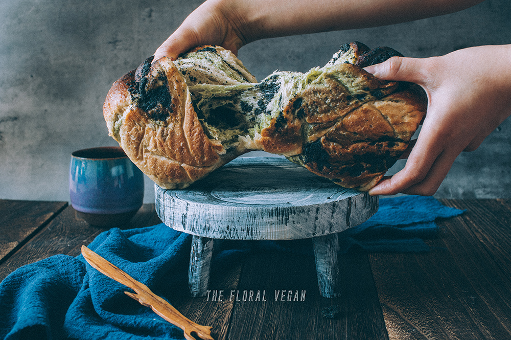 matcha & black sesame sourdough babka