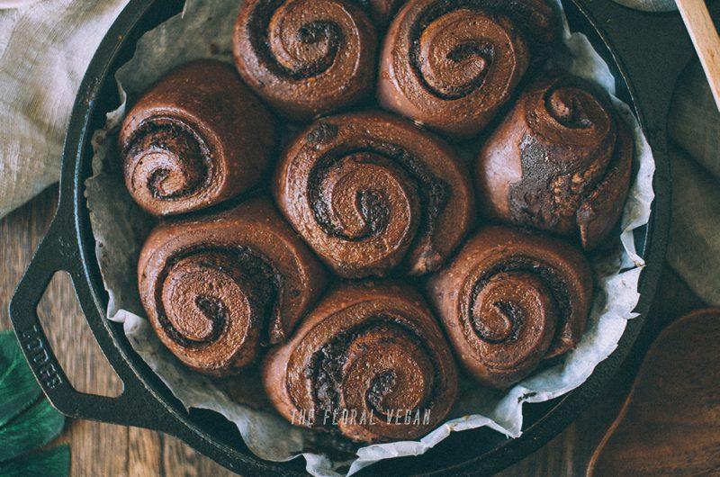 Sourdough Double Chocolate Babka Rolls (Vegan)