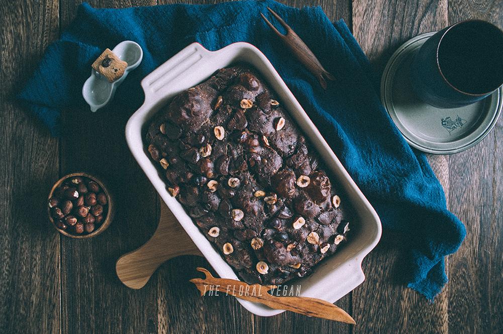chocolate sourdough focaccia flat lay
