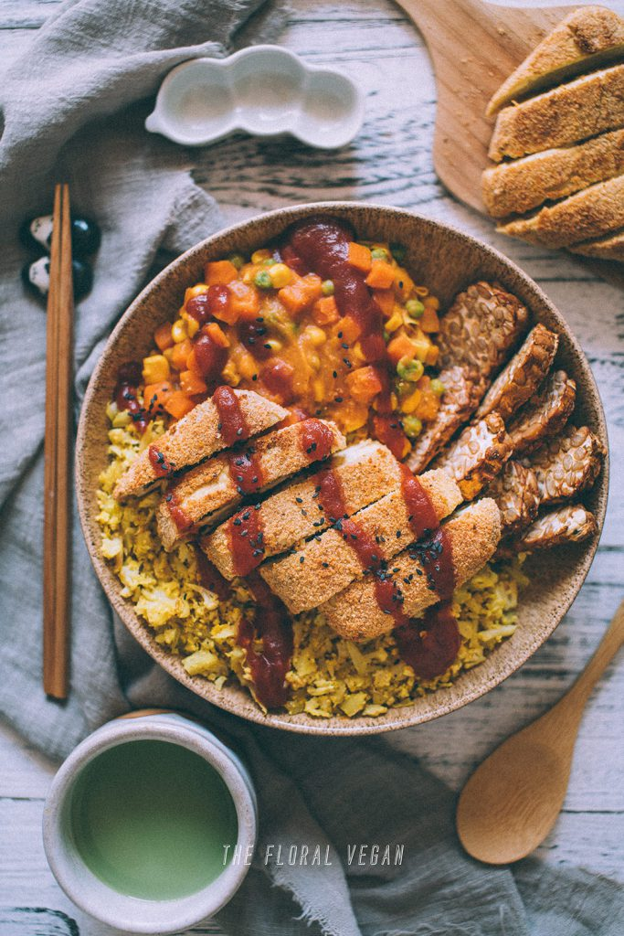 vegan katsu curry flatlay