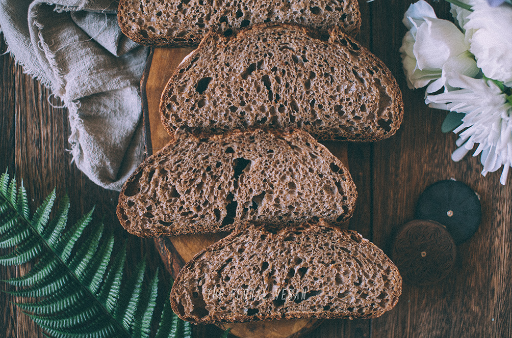 100% whole grain sourdough crumb flatlay
