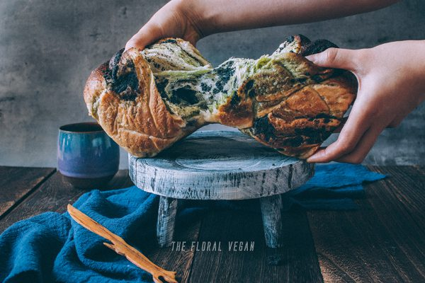 Matcha black sesame sourdough babka
