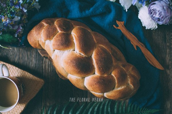 vegan sourdough challah flatlay