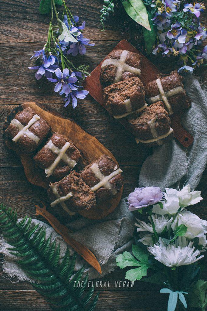 sourdough chocolate hot cross buns styling