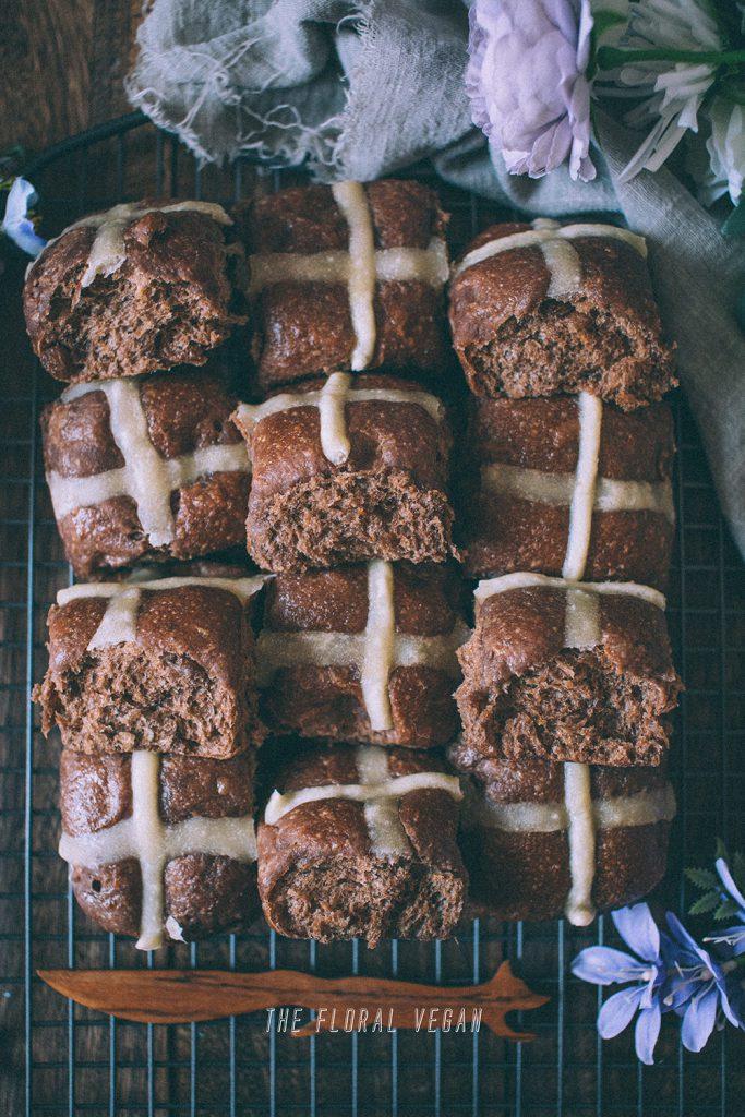 sourdough chocolate hot cross buns flatlay