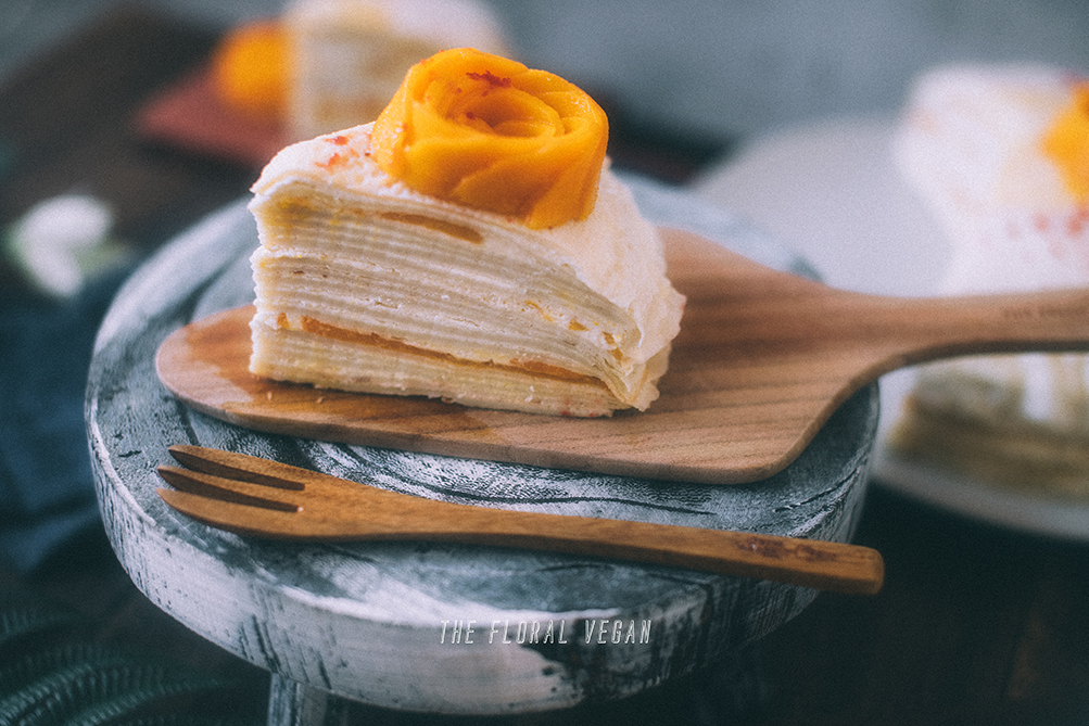 mango crepe cake layers