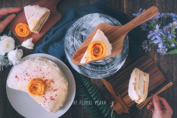 mango crepe cake food styling