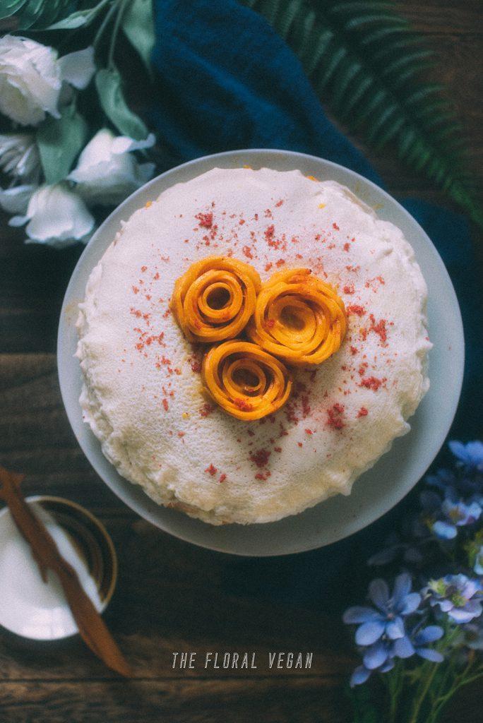 mango rose on the cake