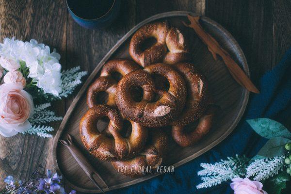 sourdough pretzels on a tray